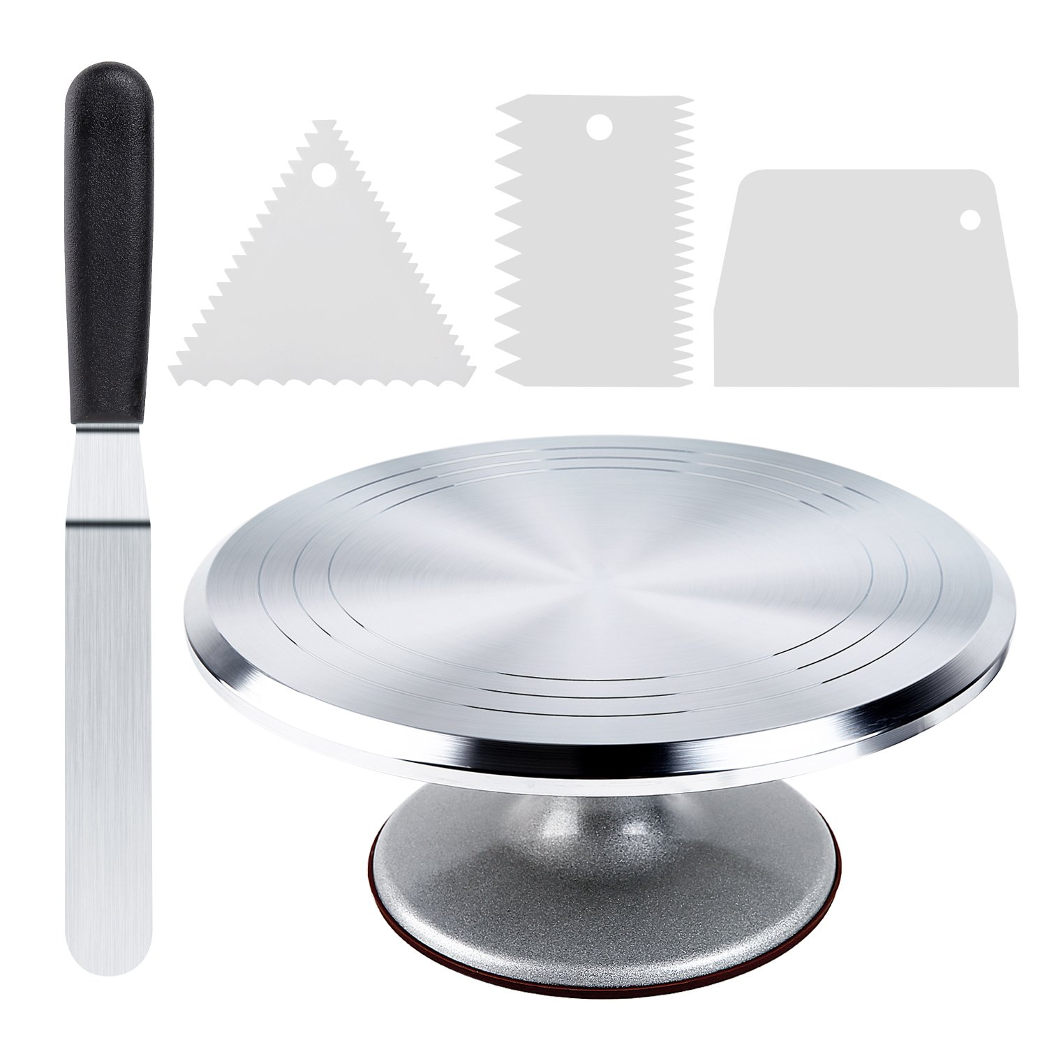 Cake Stand, Ohuhu Aluminium Revolving Cake Turntable 12'' Rotating Cake Decorating Stand with Angled Icing Spatula and Comb Icing Smoother, Baking Cake Decorating Supplies by Ohuhu