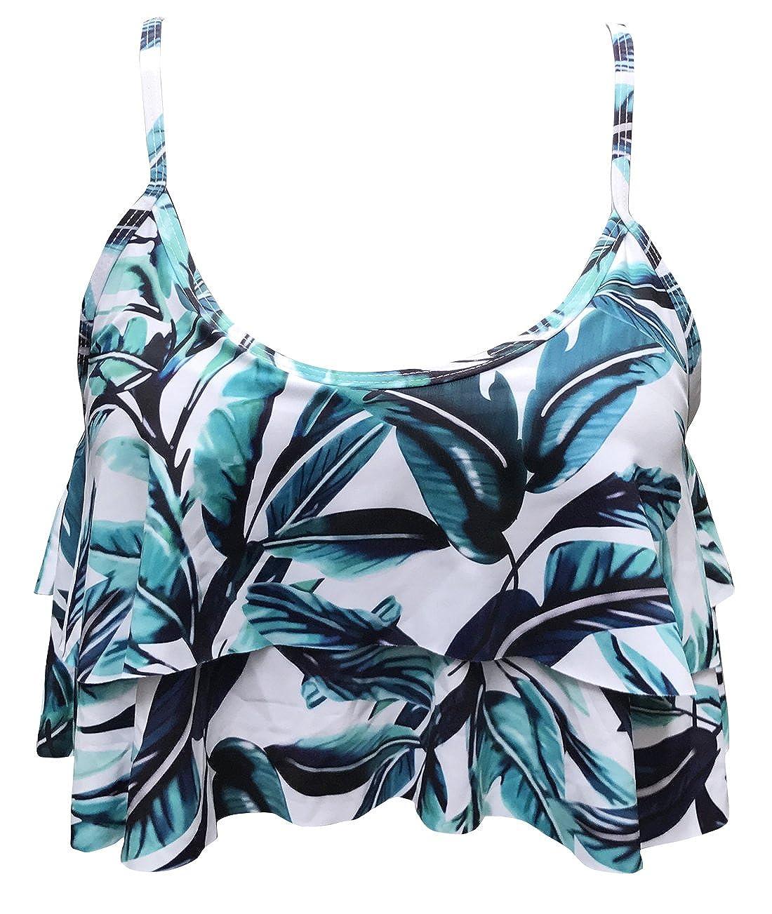 Gabrielle Aug Women's Retro Falbala Soild Floral Flounce Bikini Top Chic Swimsuit(Fba) by Gabrielle Aug