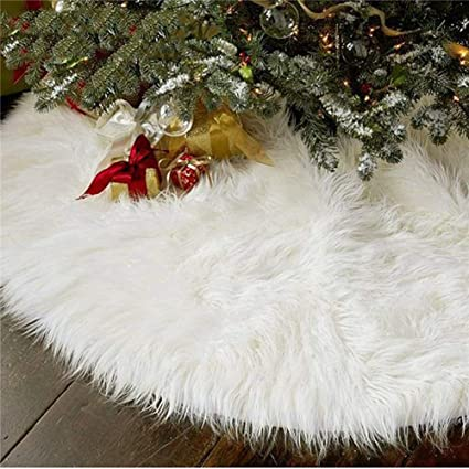 AISENO 48 Inch Christmas Tree Plush Skirt Decoration for Merry Christmas Party Faux Fur Christmas Tree Skirt Decorations best Christmas tree skirts