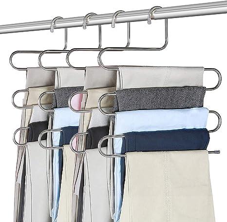 Perchas para Pantalones Organizador de Armario Antideslizante 4 pcs Ahorra Espacio Percha Multifuncional Tipo S Perchas Pantalones Multiusos Percha Perchas de Metal de 5 Niveles