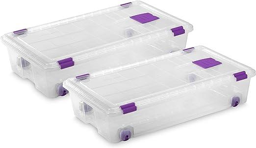 TODO HOGAR Caja Almacenaje plástico Transparente con Ruedas ...
