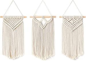 Macrame Woven Wall Hanging Mount Decor Tapestry for Christmas Art Deco Bohemian Wood Rod Display Geometric Tassel Knotted Ruffle Tapestys for Teen Girls Home Closet,Outdoor,Laundry Room,Patio,Bed Rail