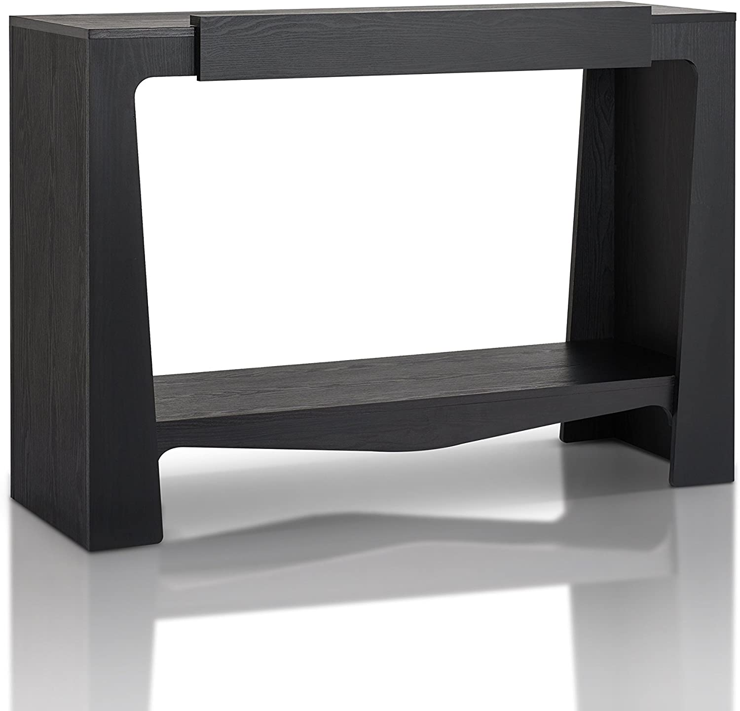 Furniture of America Delray Modern Wood 1-Drawer Console Table with Shelf, Black