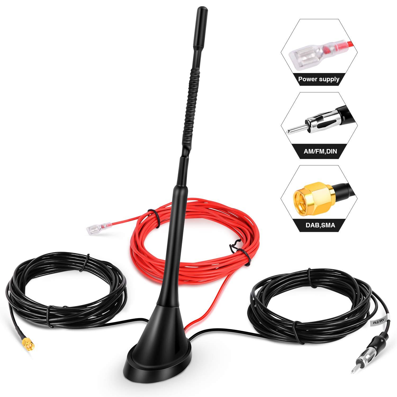 Sony DAB Antenna per auto SMA Adattatore universale per tetto Ricevitore digitale per segnale radio con cavo di prolunga 5 m // 6,4 piedi per FM AM//DAB Blaupunkt Clarion Radio Pioneer JVC