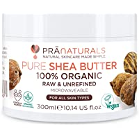 PraNaturals 100% biologische karitéboter 300 ml, Ruwe ongeraffineerde extra vierge, A-kwaliteit Afrikaanse puur ivoor…