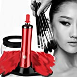 Makeup Brush Cleaner - MUJUZE 360 Rotation Electric Makeup Brushes Cleaner and Dryer, Fit for All Size Makeup Brushes - Remove Cosmetic Residue, Oil and Impurities from Brushes (Red)