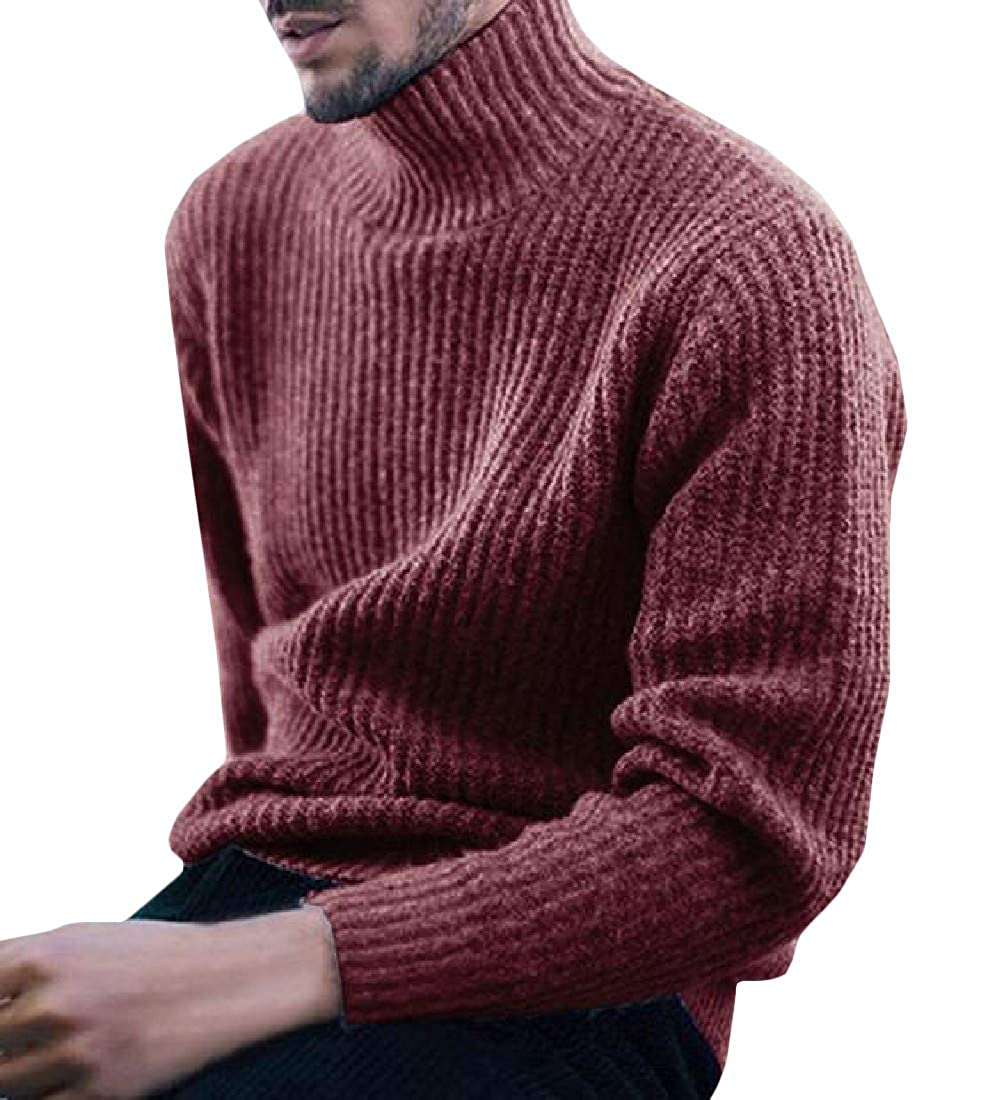 Joe Wenko Men Loose Pure Colour Mock Turtle Neck Knit Pullover Sweaters