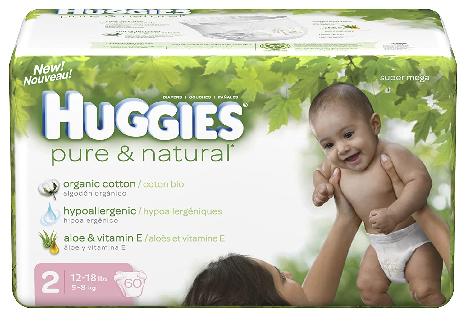 Amazon.com: Huggies Pure & Natural Diapers, Size 2, 60-Count (Pack of 2): Health & Personal Care