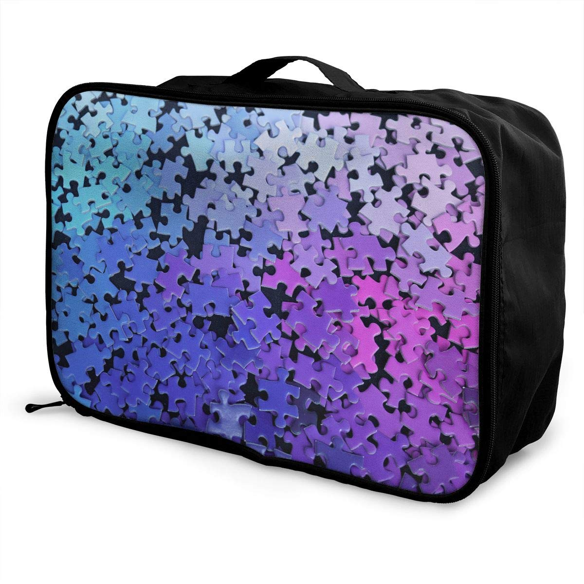 Travel Luggage Duffle Bag Lightweight Portable Handbag Rainbow Puzzle Print Large Capacity Waterproof Foldable Storage Tote