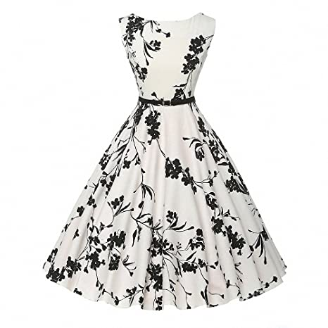 ab25908d0a50b Womens Audrey Hepburn 50s Vintage Robe Rockabilly Swing Sleeveless Print  Dress  Amazon.ca  Luggage   Bags
