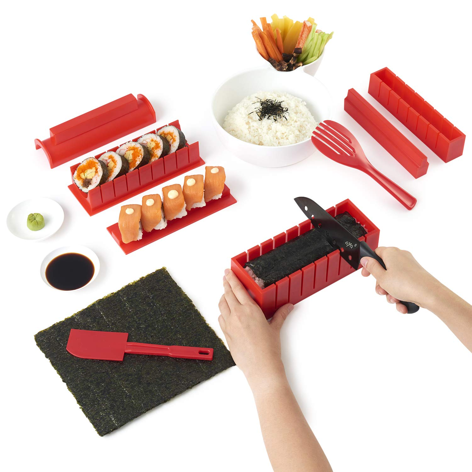 Sushi Making Kit - Original AYA Sushi Maker Deluxe Exclusive Online Video Tutorials Complete with Sushi Knife 11 Piece DIY Sushi Set - Easy and Fun - Sushi Rolls - Maki Rolls by SushiAya (Image #1)