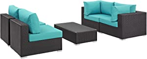 Modway Convene Wicker Rattan 5-Piece Outdoor Patio Furniture Set in Espresso Turquoise