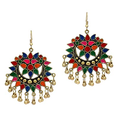 e35c9d67059 Buy Jaipur Mart Festive Special Multi Color Gold Plated Afghani Earrings  Online at Low Prices in India