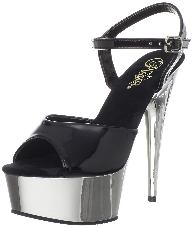 Schwarz(Schwarz(Blk Slv Chrome)) Pleaser DELIGHT-609 Damen Sandalen