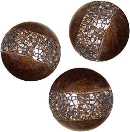 Schonwerk Walnut Decorative Orbs For Bowls And Vases Set Of 3 Resin Sphere Balls For Living Dining Room Coffee Table Centerpiece Home Decor Great Gift Idea Crackled Mosaic Home Kitchen