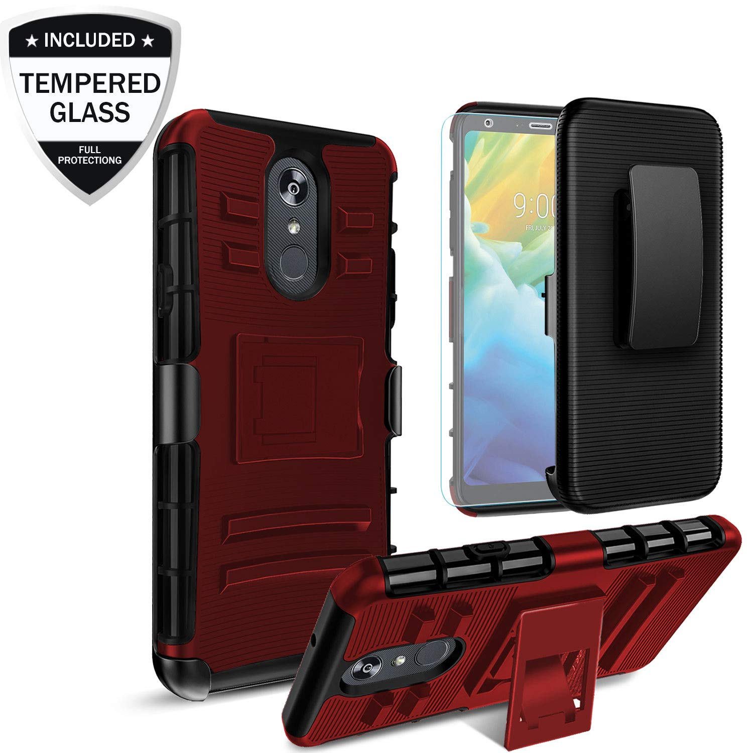 LG Stylo 4 Case,LG Stylo 4 Plus Phone Case with Tempered Glass Screen Protector,【Built-in Kickstand&Belt Clip Holster】Heavy Duty Full-Body Shockproof Protective Hybrid Cover for Men/Women/Boys,PC Red