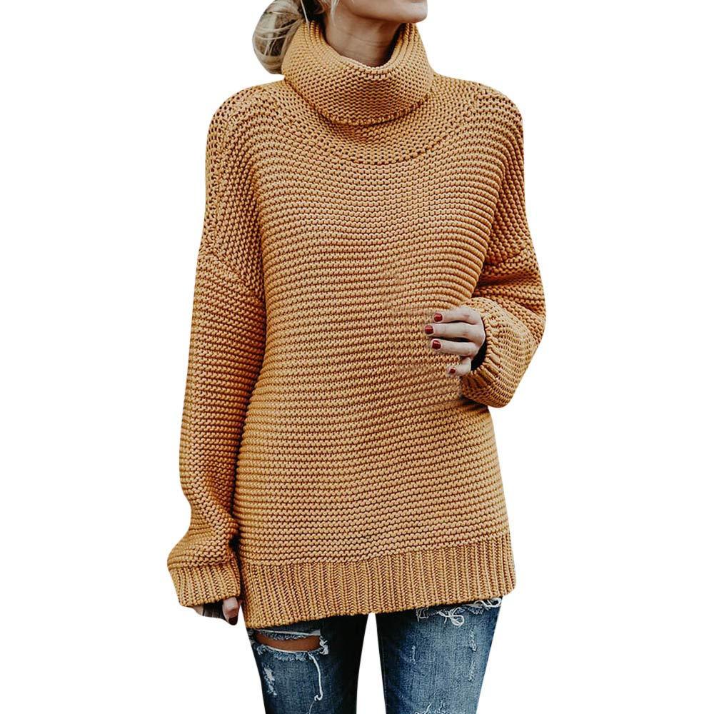 Sonnena Damen Pullover Rollkragen Sweater - Frauen Oberteile Langarm Shirt Jumper Strickpullover Oversized Tops Strickpulli Herbst und Winter Sweatshirt
