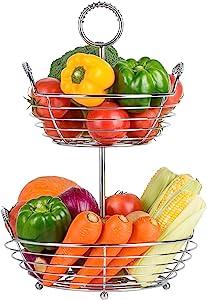 Sunny Living 2 tier fruit basket bowl, fruit holder for kitchen counter stand, hanging fruit baskets, fruit,vegetable,bread and produce storage (chrome)