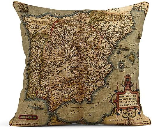 Kinhevao Cojín Mapa Antiguo Antiguo de España por Abraham Ortelius Circa 1570 Portugal Cojín de Lino Vintage Almohada Decorativa para el hogar: Amazon.es: Jardín