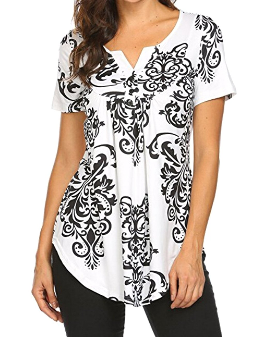 Defal Women Summer Short Sleeve V Neck Floral Print Blouses Shirts Casual Irregular Hem Flowy Lightweight Tunic Tops (Black,M)
