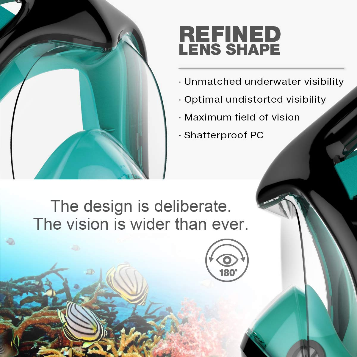 Poppin Kicks Full Face Snorkel Mask for Adult Youth and Kids | 180° Panoramic View Anti-Fog Anti-Leak Easy Breathe GoPro Compatible w/Detachable Camera Mount (3.0 Black/Marine Green, Small/Medium)