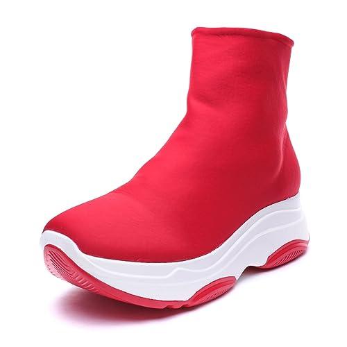 MForshop Scarpe Donna Ginnastica Sneakers Calzino No Lacci Palestra para  Corsa bbj2019 - Rosso 1a69b8468bd