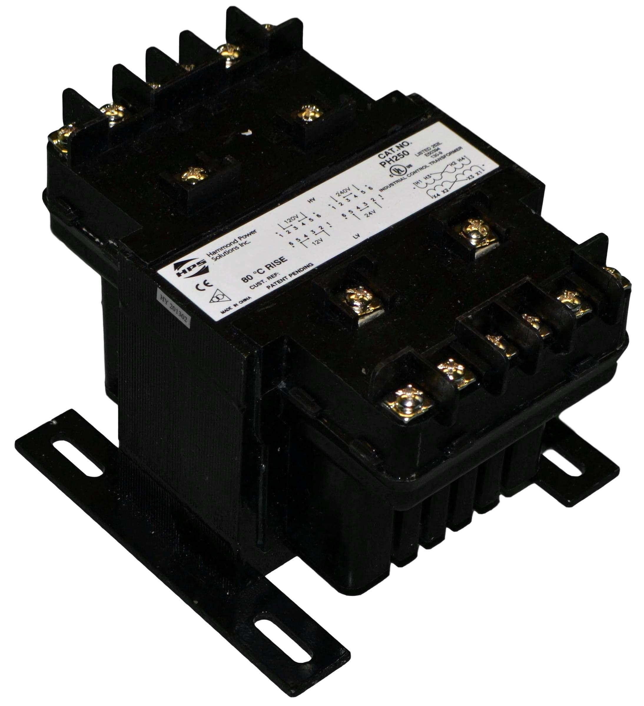 Hammond Power Solutions PH250MQMJ Transformer, control, pri:240/480VAC, sec:120/240VAC, 250VA, 2.08/1.04A