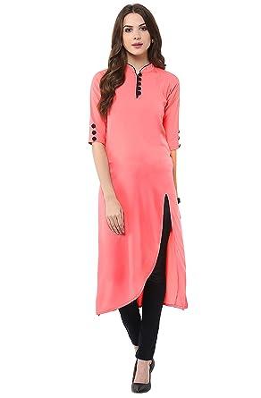 a66a911935e Amazon.com: Janasya Indian Tunic Tops Crepe Kurti for Women: Clothing