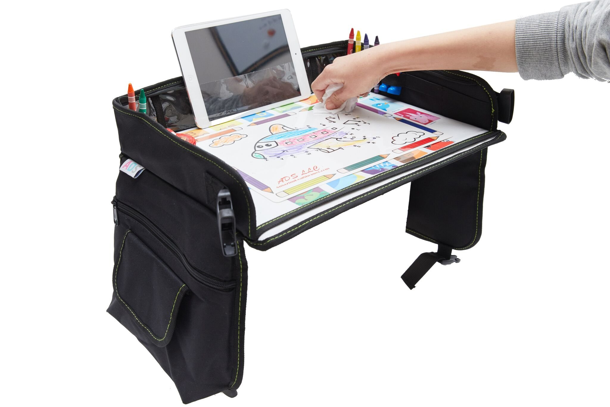 Kids Travel Tray Bag with Erasable Surface & Tablet Holder/Children Play Tray/Stroller Tray Organizer - Waterproof, Sturdy surface & Mesh Pockets + GIFT 6 Crayons & Drawing Activities
