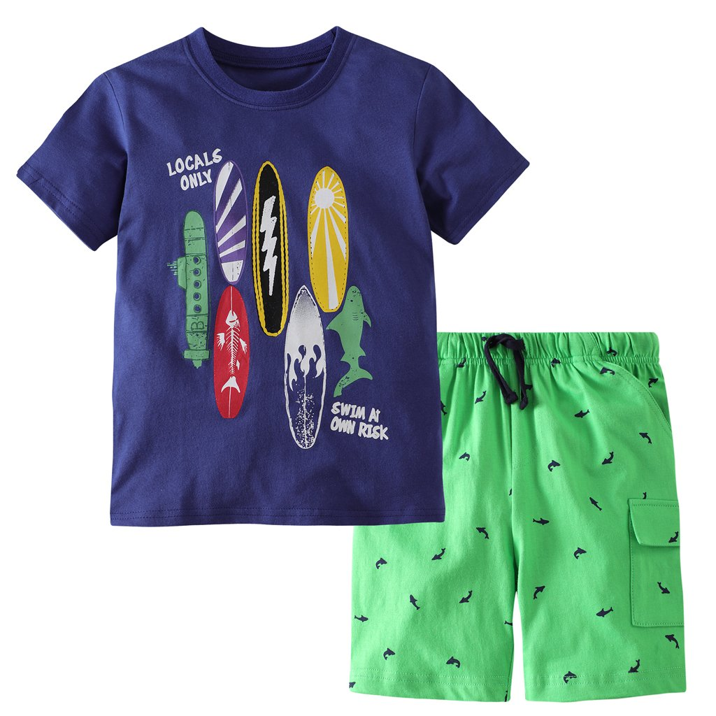 Hsctek Boys' Cotton Clothing Sets, Short Sleeve T-Shirt & Short Sets for Summer (Surfboard, 2T/2-3YRS)