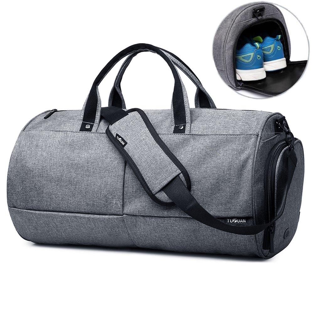 Valleycomfy – Sac de Sport Grande capacité avec Poche à Chaussures, Portable à la Main/sur l'épaule/en bandoulière Gris