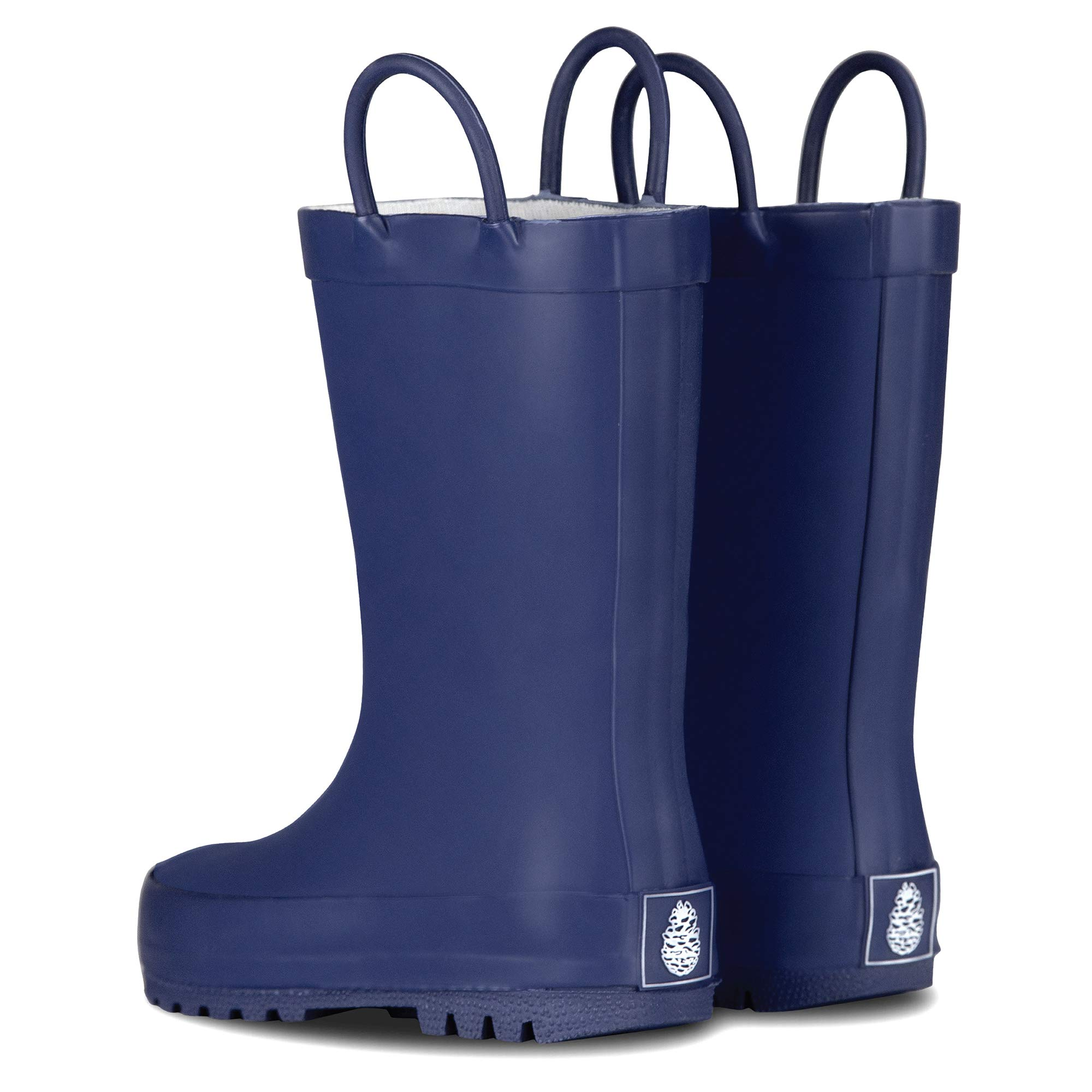 LONECONE Elementary Collection - Matte Rain Boots with Easy-On Handles for Toddlers and Kids, Ribbon Blue, Big Kid 4 by LONECONE (Image #3)