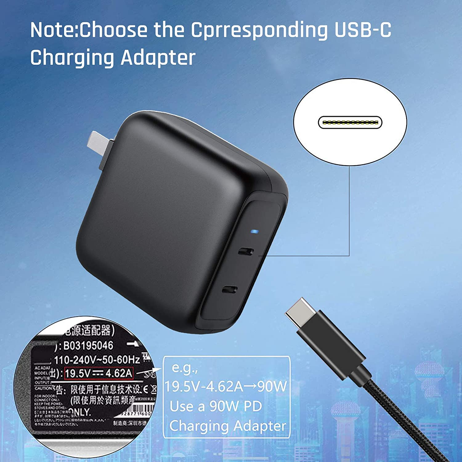 USB C to Lenovo Square 18.5-20 V Dockcase PD 100W USB Type C Male Input to Slim tip Male Power Charging Cable with PD /& EMARK Dual Chip