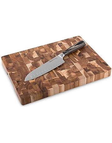 Cuchillo Santoku de 17 cm con Tabla de Cortar de Madera de Acacia Sakura, 2