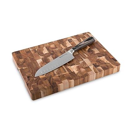 Cuchillo de Cocina Santoku Sakura (17 cm) & Tabla para Cortar de Madera de Acacia (35cmx25cmx 3cm) Cuchillo cebollero estilo Japonés de Acero ...