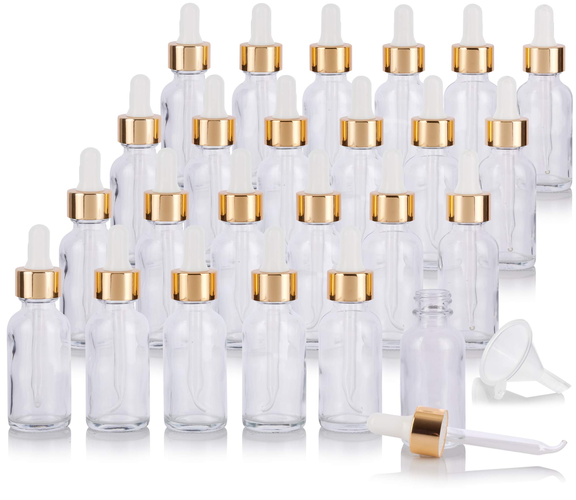 1 oz Clear Glass Boston Round Bottle with Gold Metal and Glass Dropper (24 pack) + Funnel for Essential oils, Aromatherapy, E-liquid, Food grade, BPA free by JUVITUS