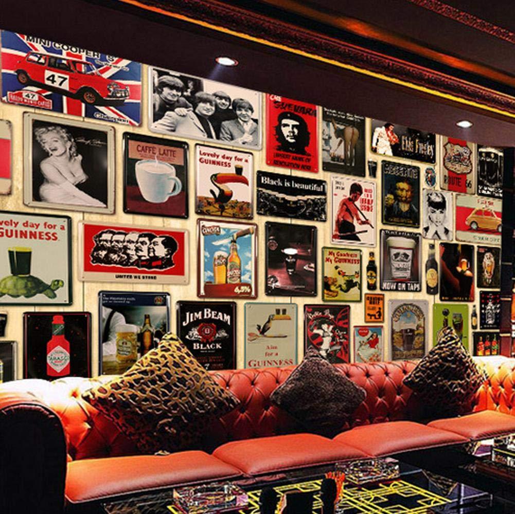 Toruiwa caff/è Ornamento di Stile retr/ò per Bar Targa Metallica Vintage Poster Vintage Art Decorazione per la casa Creativa