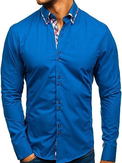 BOLF Herren Hemd Jeanshemd Elegant Langarm Slim Fit Casual Style 4704-1  Blau M   a17dd03301