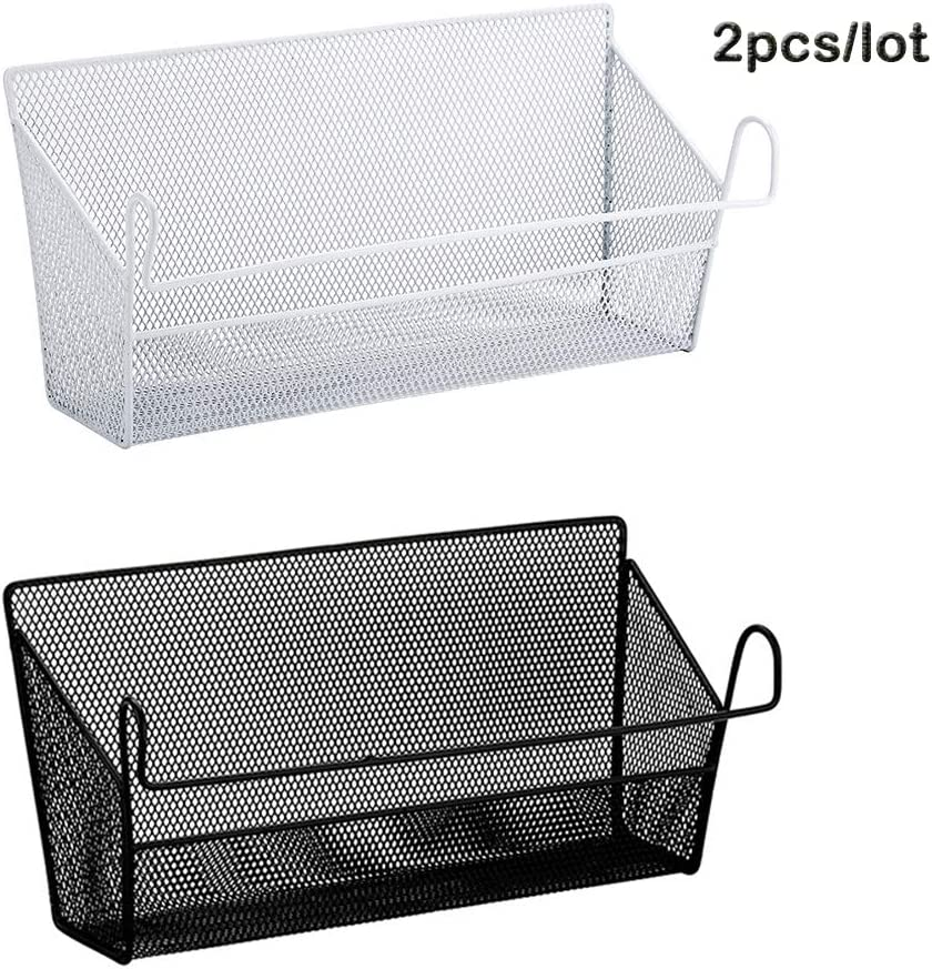 YOUMI Dormitory Bedside Shelf Storage Baskets, 2PCS bunk Bed Mesh Origanizer for Books Phones Drinks Office Bathroom Home Table Desktop Home Supplies with Hook Rack Hanging Size 391018cm (White)
