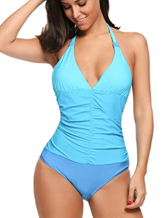 1c8a27f7c8 wearella Sexy Women's Tummy Control Swimwear One Piece Halter Bathing Suit  Light Blue