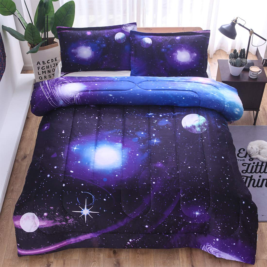 3D Outer Space Themed Bedding 1 Pillow Sham All-Season Reversible Quilted Duvet Includes 1 Comforter JQinHome Twin Galaxies Blue Comforter Sets Blanket for Children Boy Girl Teen Kids