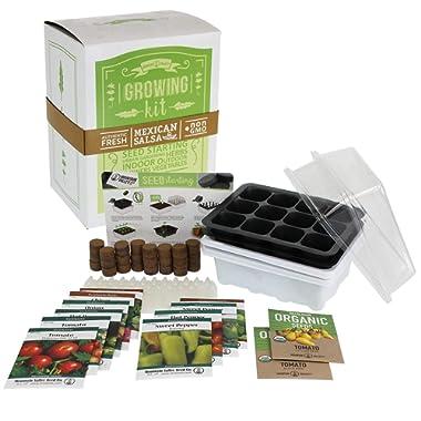 Salad & Vegetable Garden Seed Starter Kit | Deluxe | 12 Non-GMO Varieties | Gardening Starter Kit | Seeds: Cucumber, Sweet Pepper, Tomato, Chives, Lettuce, Carrot & More