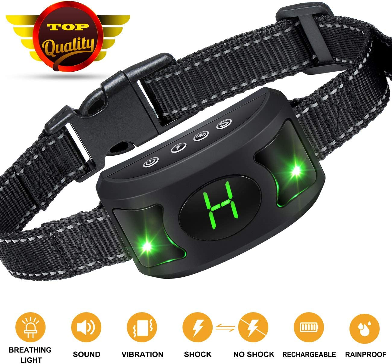 Bark Collar 2019 Upgrade Version – Dog Bark Collar with Beep Vibration and Harmless Shock -No Bark collar for Small Medium Large Dog With Cool Breathing Light
