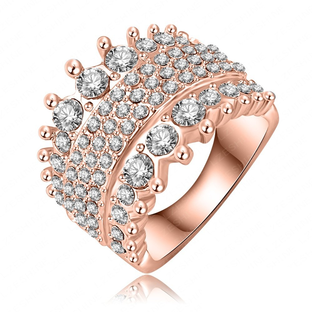 Evertrust (TM)Wedding Rings Fashion Women Accessories 18K Rose Gold /Platinum Plate Austrian Crystal Ring Inlay SWA Element Ri-HQ0247-b