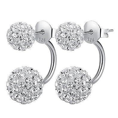 Silber ohrringe  1 Paar Kristall Ohrringe in 100% 925 Silber | Ohrstecker mit 2 ...