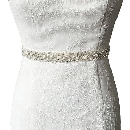 shinybeauty boda Sash cristal diamante Rhinestone Applique, cristal y Rhinestone flor vestido de novia cinturones