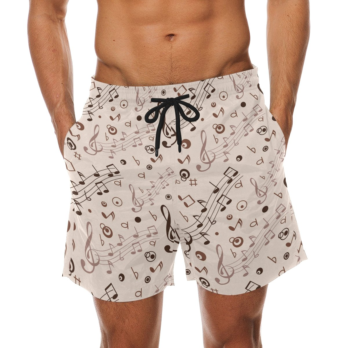 LORVIES Mens Musical Notes Beach Board Shorts Quick Dry Swim Trunk