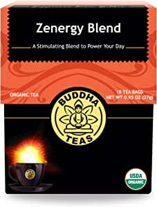Organic Zen-ergy Blend Tea - Kosher, Contains Caffeine, GMO-Free - 18 Bleach-Free Tea Bags
