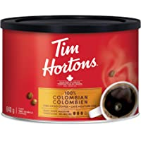 Tim Hortons 100% Colombian, Fine Grind Coffee, Dark Medium Roast, 640g Can