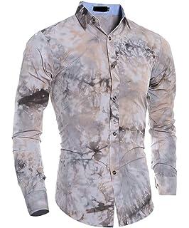 WANSHIYISHE Men Multi Color 3D Printing Shirt Long Sleeve Button Down Dress Shirt